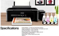 Máy in Phun 04 màu Đa năng Epson L220- thay thế L210 (in, scan, copy) - Khổ A4 - Máy in có gắn sẵn bộ tiếp mực ngoài chính hãng Epson (BHành 12 tháng)